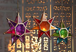 Lantern~Moroccan Style Hanging Star Two Tone Glass Lantern~Fair Trade by Folio Gothic Hippy LT38